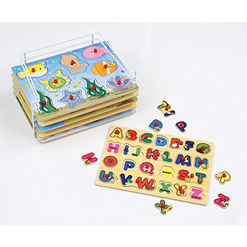 - Etna Products Wooden Puzzles For Toddlers - 6 Colorful Wood Knob / Peg Puzzles, Ideal for Your Baby/Toddler - Fun & Educational - Includes Kids Alphabet Puzzle, ABC Puzzle, Shape Puzzle, Puzzle Rack