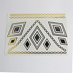 [12 Styles & 12 Sheets Pack Designs] SQDeal Gold Metallic Removable Waterproof Temporary Flash Tattoo Pattern & Golden Bling Glitter Tattoo Stickers Body Art Sex Products for Girla Teens Women