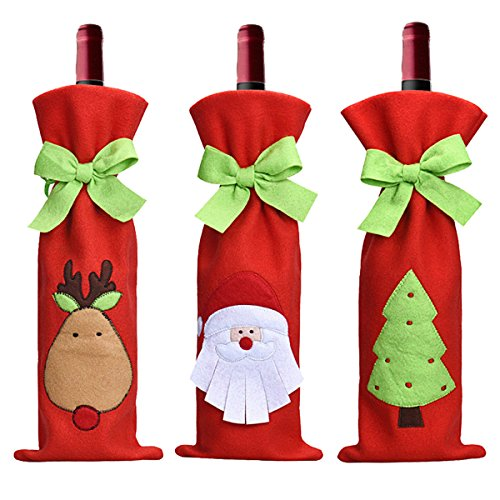 Christmas Wine Bottle Cover, SMTHOME 3Pcs Santa Claus Xmas Candy Bag gift bag Dinner Party Table Decor (Bow)