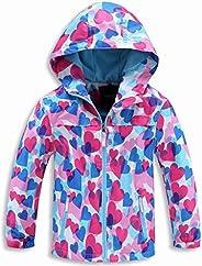 decathee Boys Girls Rain Jackets Waterproof Lightweight Hooded Raincoats Lined Softshell Windbreakers for Kids