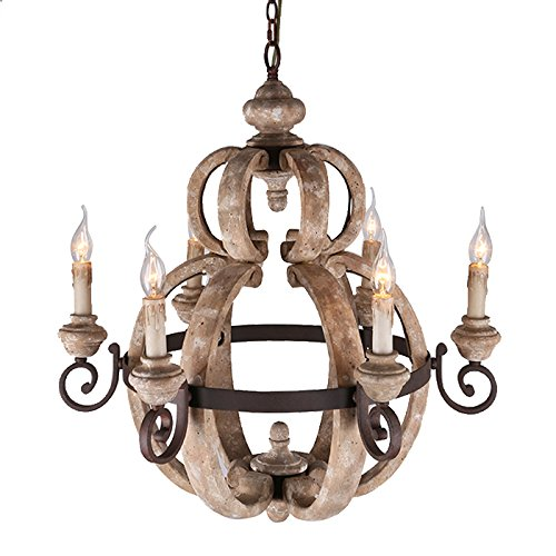 Cheap KunMai Rustic Country Candle-Style Wood and Metal Farmhouse Chandelier with 6 Uplight