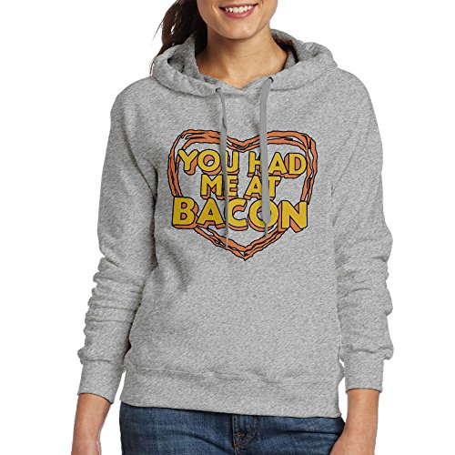 Bacon Drawstring Me Hoodie Pocket Womens Pullover Sweatshirt You Had Ash At Kangaroo XxqwgIYEg