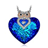 "Necklace Jewelry, ♥Exquisite Package♥ J.NINA ""Owl of Minerva"" Bermuda Blue Heart Pendant Made With Swarovski Crystals, Charming Gifts for Women"