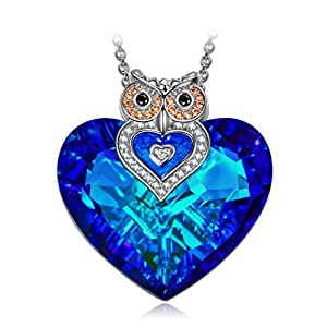 Gift for Girlfriend J.NINA Owl Pendant Necklace with Sapphire Heart Swarovski Crystal. Christmas Birthday Anniversary Gifts Her for daughter wife sister Fiancée Cute Animal Jewelry for Girl