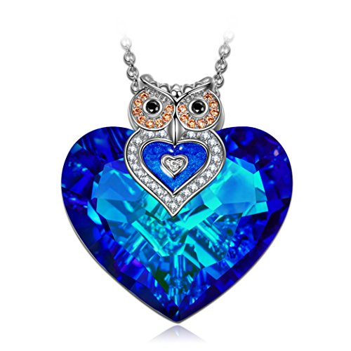 J.NINA Women Neckalce for Mothers Day Heart Pendant Big Blue Swarovski Crystals Owl Sapphire Jewelry Anniversary Birthday Gifts Present for Her Ladies Girls Wife Girlfriend Sister Mom Mother -