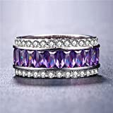 Gorgeous Princess Cut Amethyst 925 Silver Jewelry Women Wedding Ring Size 6-10 (10)