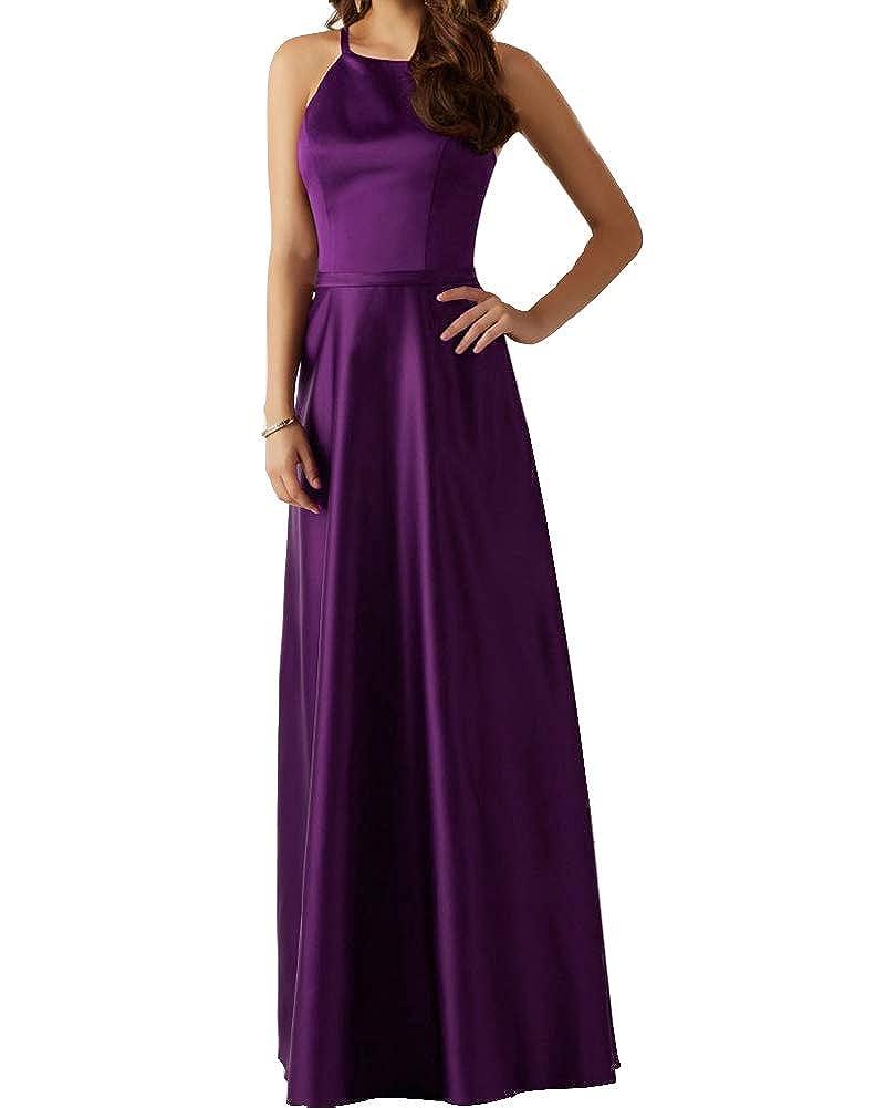 Purple Stylefun Women's Long Satin Bridesmaid Dress Evening Gown A Line Prom Party Dress BD88017
