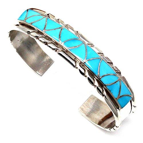L7 Enterprises Zuni Turquoise Inlay & Silver Bracelet by Kallestewas | 5.5