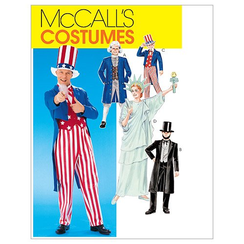 McCall's M6143 Children's Uncle Sam, Statue of Liberty, Abe Lincoln, and George Washington Costume Sewing Patterns, Sizes 8-10 -