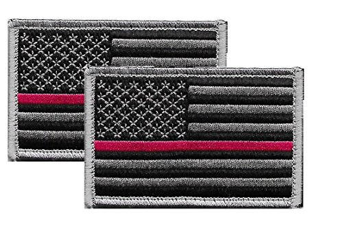 US Flag Patch Red Stripe for Firefighter - (2 Pack) - US Flag Thin Red Stripe Line Tactical Velcro Patch for Firefighters and Paramedics - U.S. Flag Patch Red Stripe, Hook - Sold by UNIFORM WORLD (Embroidery Dept Fire)