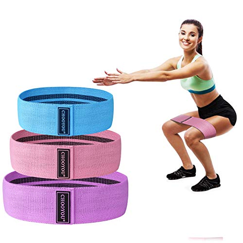 Fabric Soft Non Slip Hip Fitness Bands for Booty Resistance Exercise Workout Bands for Women & Man ,Sets of 3,Perfect Resistance Loop Circle Exercise for Legs,Squats,Butt,Glutes (BLUE/PINK/PURPLE)