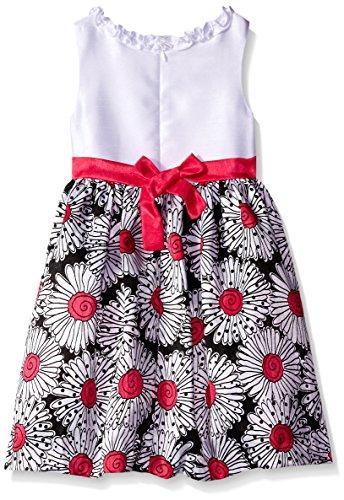 American Princess Little Girls' Solid Bodice Shantung  Dress, Black Hot Pink, 4