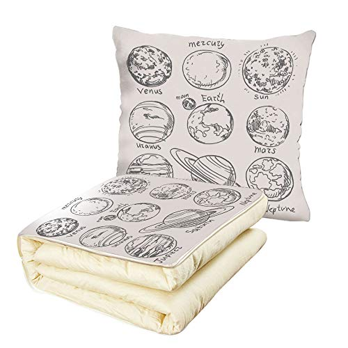 iPrint Quilt Dual-Use Pillow Doodle Planets of Solar System Sun Mercury Earth Moon Mars Neptune Saturn Jupiter Science Multifunctional Air-Conditioning Quilt Black White by iPrint