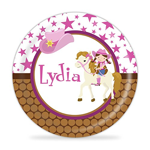 Cowgirl Plate - Pink Star Cowgirl Melamine Personalized Plate