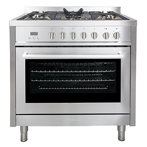 Cosmo F965 36-Inches Dual Fuel Gas Range with 3.8 cu. ft. Oven, 5 Burners, Convection Fan, Cast Iron Grates and Black Porcelain Oven Interior in Stainless Steel (Standard Clean Freestanding Gas Range)