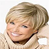 2015 Short Straight Blonde Wig for women Peluca Peruca Sexy Synthetic hair wigs Full wig with Side bangs Free shipping
