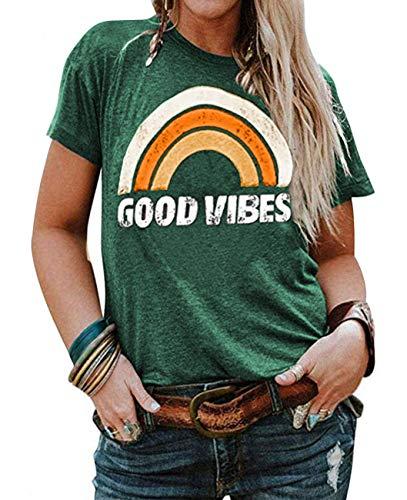 YASAKO Plus Size Women Tops Short Sleeve T Shirts Casual Tee Shirts Cute Graphic Tunic, Green, 3X-Large