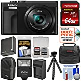 Panasonic Lumix DC-ZS70 4K Wi-Fi Digital Camera (Black) with 64GB Card + Case + Flash + Battery + Charger + Tripod + Kit