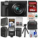 Panasonic Lumix DC-ZS70 4K Wi-Fi Digital Camera (Black) with 64GB Card + Case + Flash + Battery + Charger + Tripod + Kit For Sale
