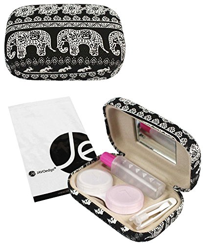[2 PCS Set], JAVOedge Black and Blue Elephant Print Contact Lens Carrying Case Travel Kit by JAVOedge (Image #4)