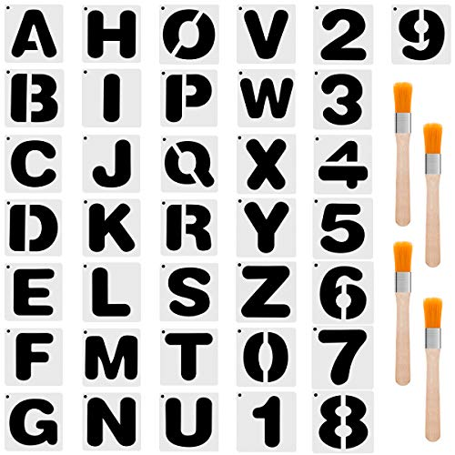Biubee 36 Pcs Plastic Alphabet Stencils Set- Reusable Letters and Numbers Drawing Painting Stencil Templates with 4 Paint Brushes for Planner, Scrapbooking, DIY Craft Project (Square)