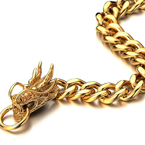 Stainless Steel Polished Gold Dragon Bracelet Dragons Collectibles