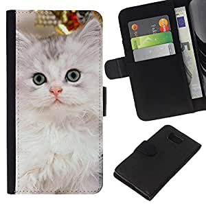 KLONGSHOP // Tirón de la caja Cartera de cuero con ranuras para tarjetas - Nebelung gatito gato persa de Siberia - Samsung ALPHA G850 //