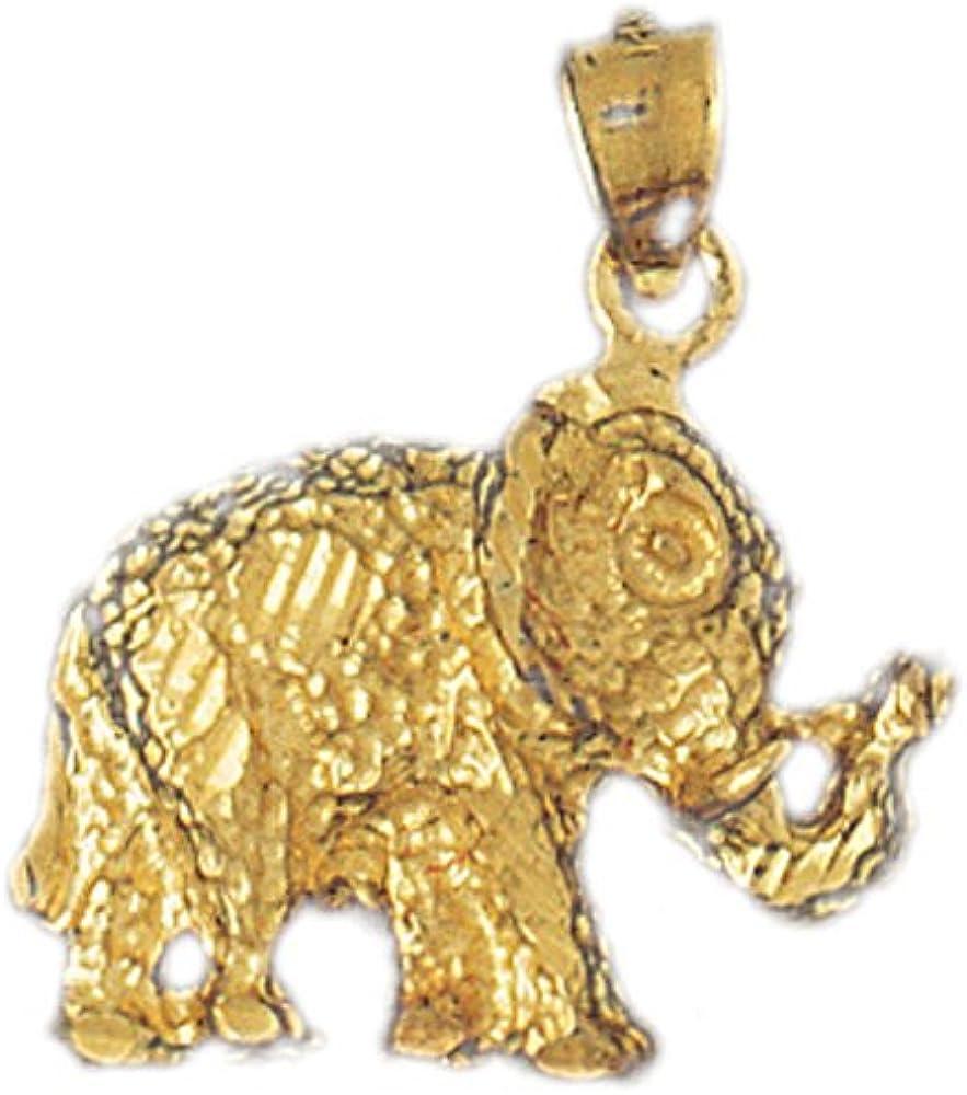 14k Yellow Gold Elephant Pendant