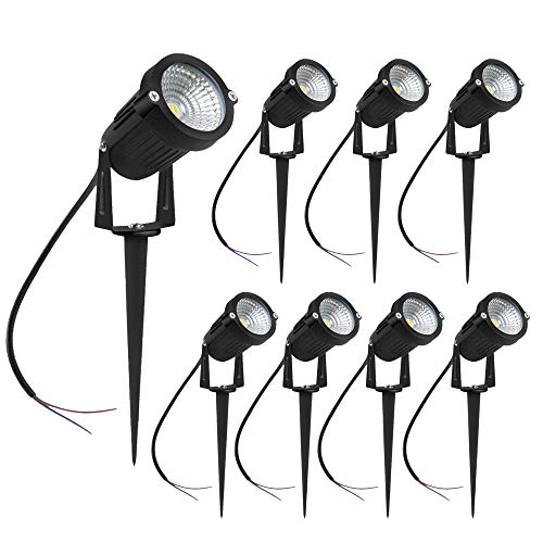 inShareplus 5W LED Landscape Lighting, Warm White 3000K-3500K 600Lumens, Waterproof IP65 DC 12V 24V Low Voltage Outdoor Spotlights for Patio Garden Pathway, 8 Pack