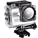 Acouto Action Camera Ultra HD 1080P 12M 2 Inch Screen Wifi Sport Cam 90 Degree Wide Angle Underwater 30m with Waterproof Housing Case and More Accessories Kits (silver)