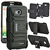 ASHIELD Protective Hard Slim Defender Case with Holster, Kickstand for For LG Optimus L70 D325 MS323 / LG Optimus Exceed 2 VS450PP - Black