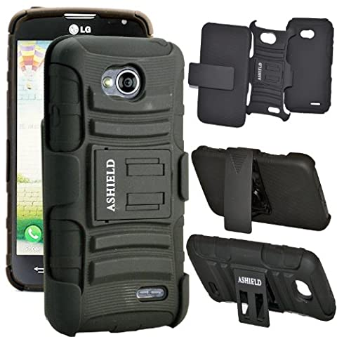 ASHIELD Protective Hard Slim Defender Case with Holster, Kickstand for For LG Optimus L70 D325 MS323 / LG Optimus Exceed 2 VS450PP - (Lg L70 Optimus Black Cases)