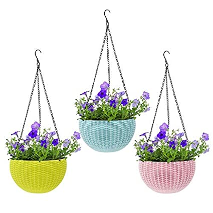 Livzing Hanging Flower Pot Basket With Hook Chain For Home Gardener Grower Planter Office Balcony - 3 Pack - Assorted Color