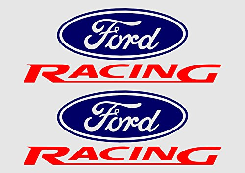 Ford Racing Decal (2ea) 8in Vinyl Decal Sticker (Navy Blue and Red)