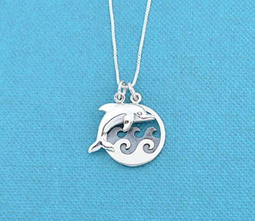 - Dolphin jumping over ocean waves pendant in sterling silver on sterling silver 18 Box Chain. Beach jewelry. Wave necklace. Sea Lover.
