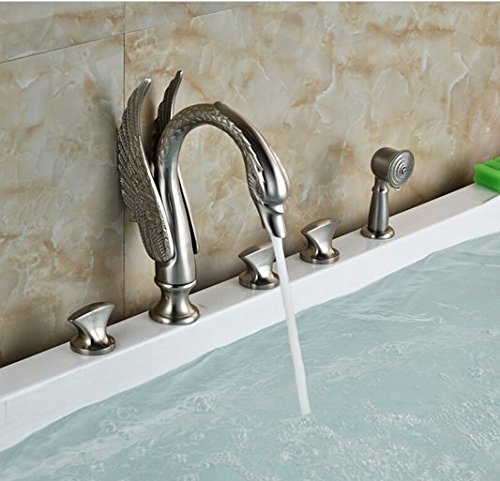 GOWE Luxury Artistic Swan Style Bathtub Faucet Set Deck Mount 5pcs Bath Shower Mixer Tap with Handshower
