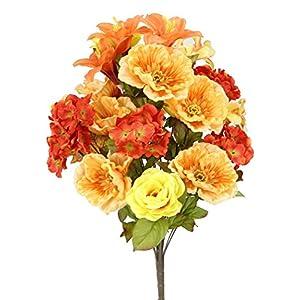 Admired By Nature 2 Piece 24 Stems Home Office/Wedding/Restaurant Decoration Arrangement Poppy/Rose/Hydrangea Mixed Flowers Bush 50