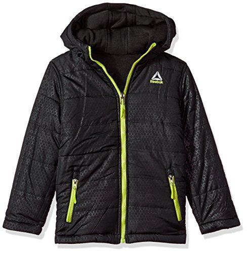 Reversible Anorak Jacket (Reebok Little Boys' Active Outerwear Jacket (More Styles Available), Reversible Black/Black/Lime, 5/6)