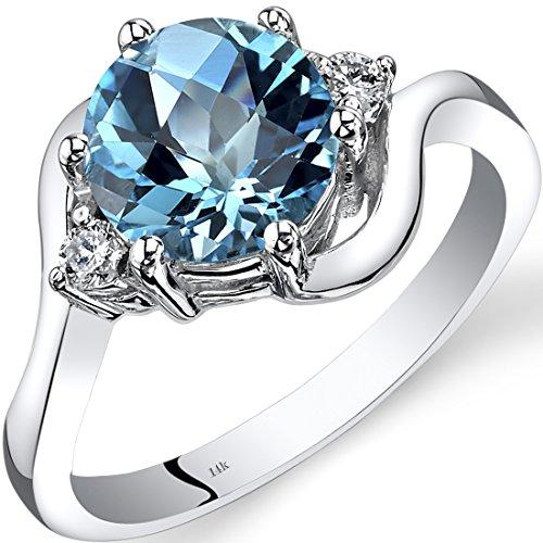 Peora 14K White Gold Swiss Blue Topaz Diamond 3 Stone Ring 2.25 Carat