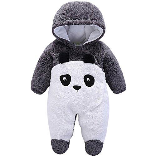 (Tueenhuge Baby Boy Girl Flannel Romper Animal Onesie Hooded Pajamas Outfits Suit (Black)