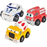 SainSmart Jr. 3 Pack Set Mini Soft Squeezable Pull Back Police Car Mixer Truck Fire Truck Non-toxic Safety Toys