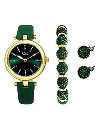 BurgiBUR241 - Set de regalo para mujer con una elegante funda de reloj con correa de piel, marcadores con purpurina, pulsera con abalorio de vidrio y arete de vidrio, Verde