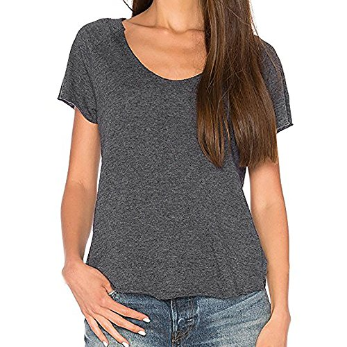 - Hot Sale! Farjing Women's Sexy Backless Hollow Solid Short Sleeve Top Back Knot Casual Shirt Tee(L,Gray)
