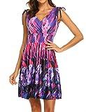 LuckyMore Mini Sundresses for Women Floral,Women's Casual Tank Dress Summer Beach Sleeveless Sundress Floral Mini Dress Purple XL