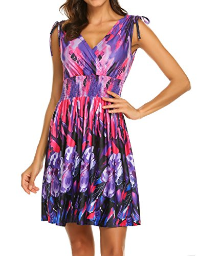 Mini Sundresses for Women Floral,Women's Casual Tank Dress Summer Beach Sleeveless Sundress Floral Mini Dress Purple XL ()