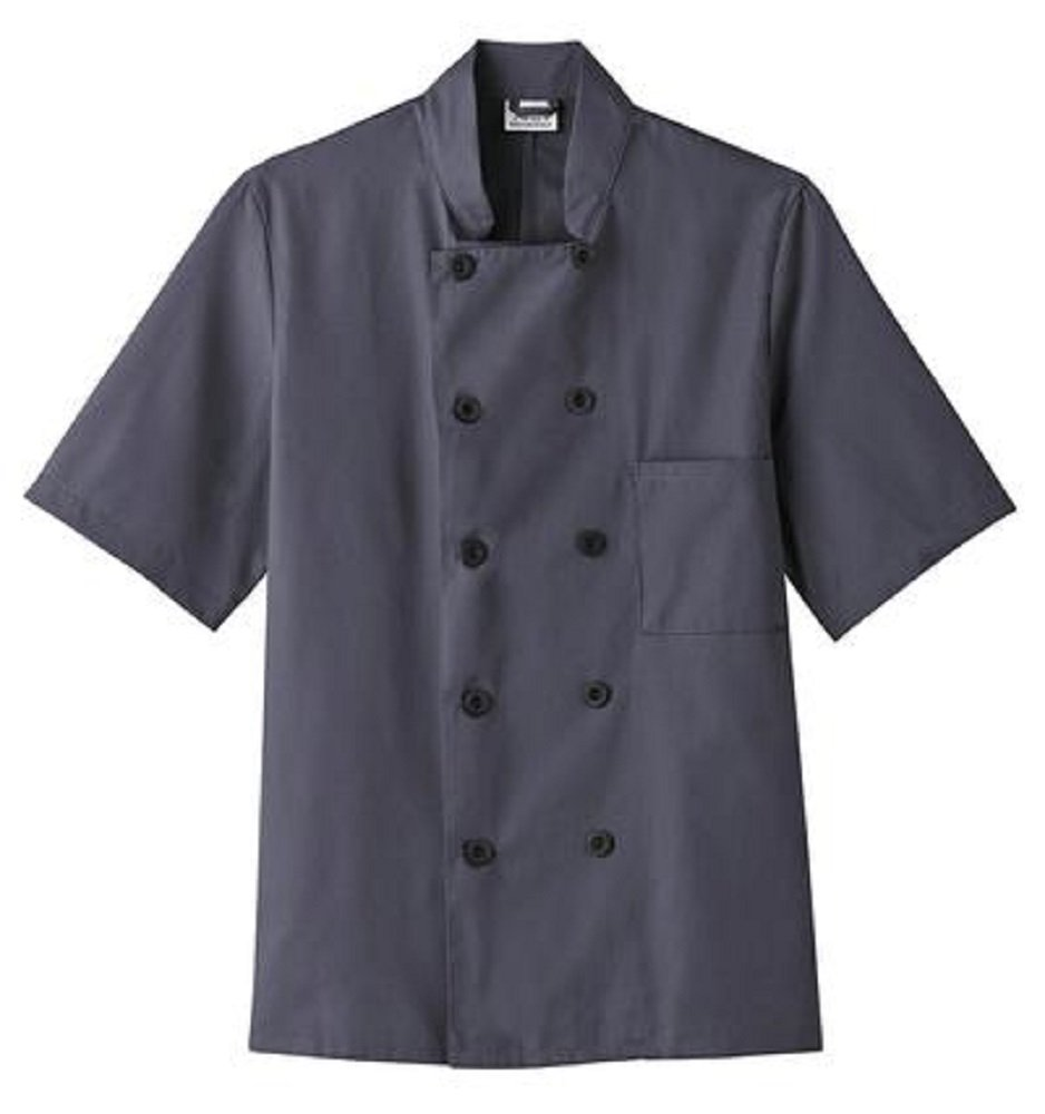 Five Star Chef Apparel Short Sleeve Coat (Charcoal, X-Large)