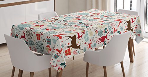 (Ambesonne Christmas Tablecloth, Vintage Xmas Theme Hearts Jingle Bells Deer Floral Details, Rectangular Table Cover for Dining Room Kitchen Decor, 60