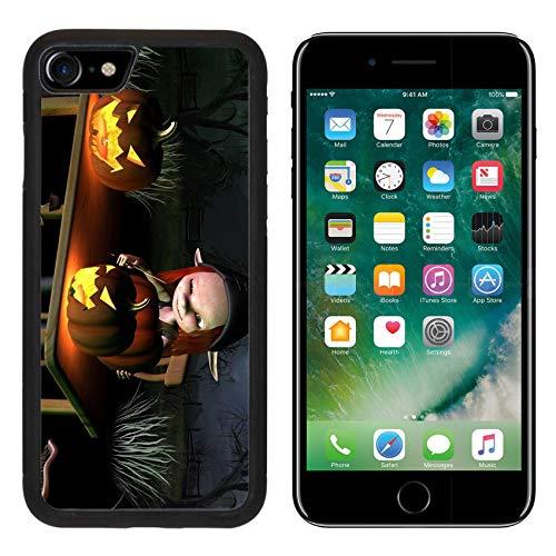 Liili Premium Apple iPhone 8 Aluminum Backplate Bumper Snap Case Image ID 32913908 Little Goblin Carving Spooky Halloween Pumpkin Lanterns with Dark Halloween Background 3D
