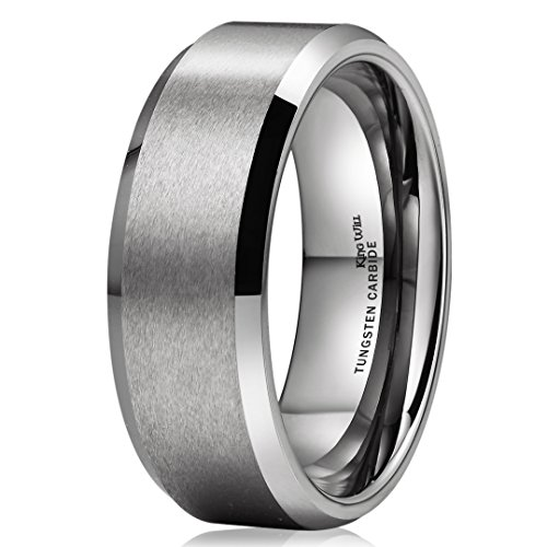 King Will BASIC Unisex 8mm Tungsten Carbide Matte Polished for sale  Delivered anywhere in USA