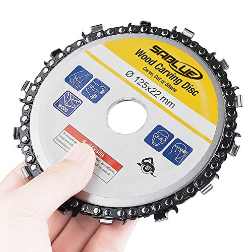 - SABLUE 5 Inch Wood Carving Disk 14 Tooth Angle Grinder Disc Chain Woodworking Chain Wheel Cut Carving Chainsaw Blade Set for 125 mm Angle Tool